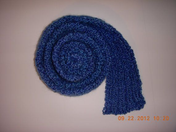 Handmade Knitted Lion Brand Homespun Warm Winter Scarf Royal Blue ...