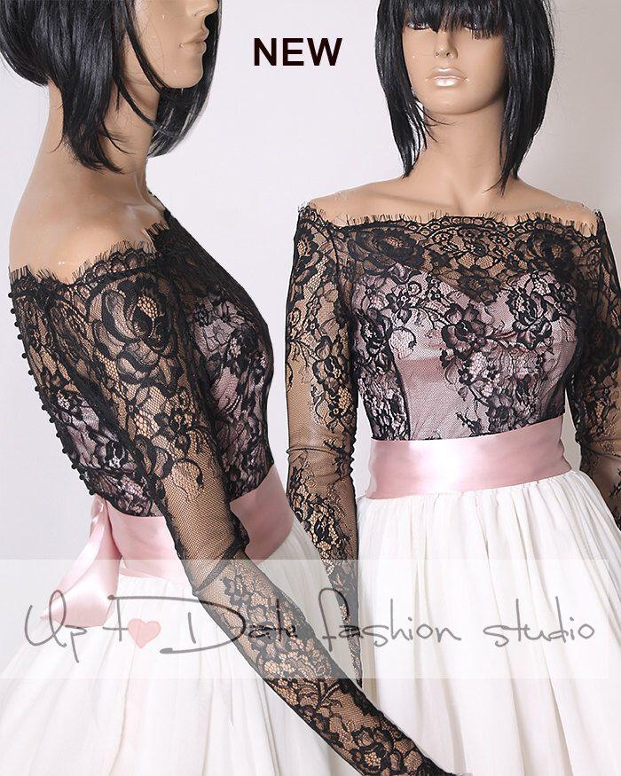 d9da25ffae9 Off-Shoulder black wedding bolero  French Chantilly Lace style  bridal shrug   jacket