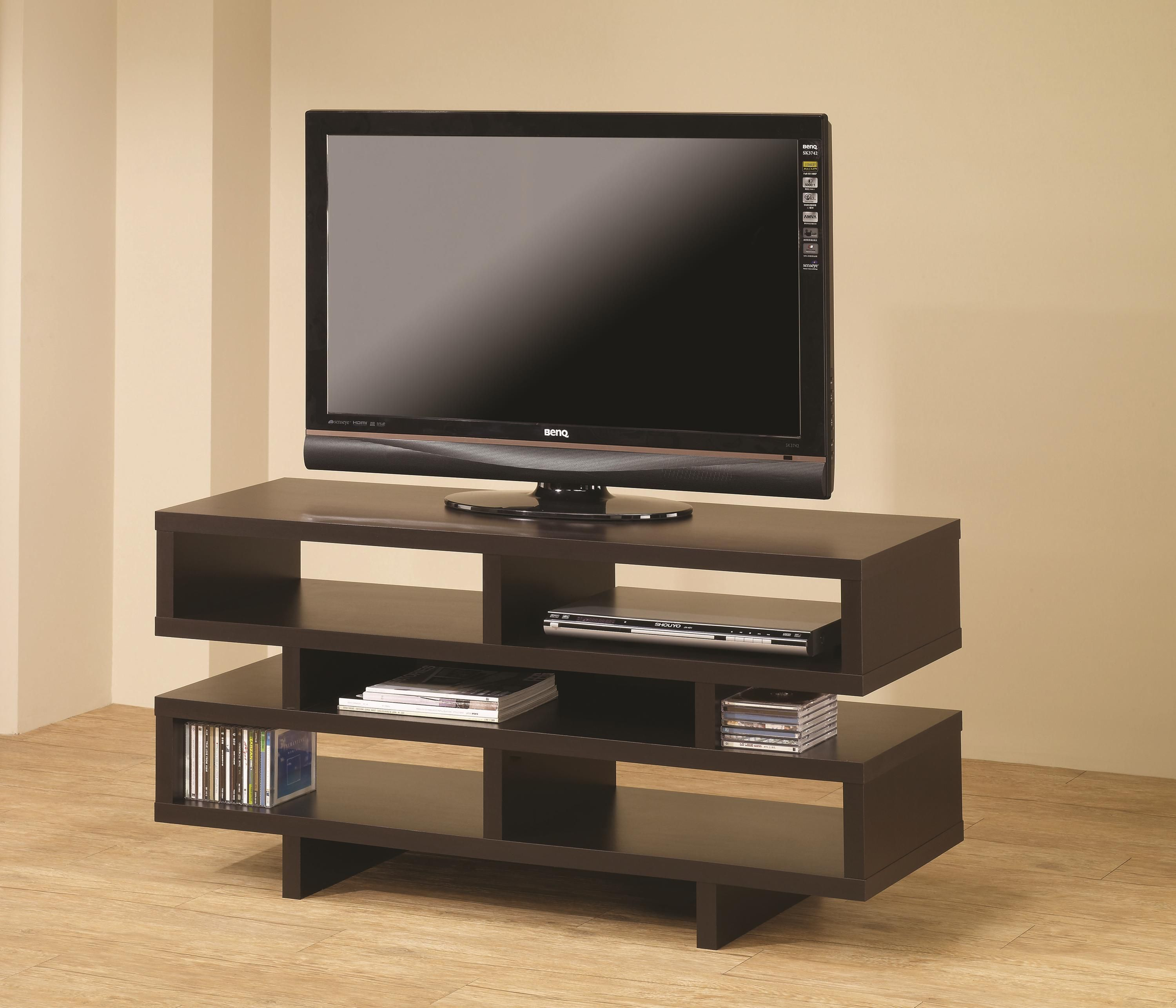 tv stands contemporary tv console with open storage  cappuccino  - tv stands contemporary tv console with open storage  cappuccino finish bycoaster  coaster