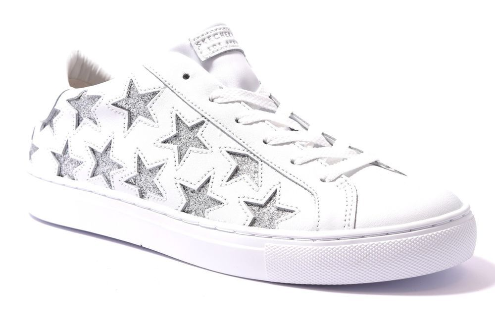 sports shoes 61a0c cc3ed SKECHERS 73535 WSL BIANCO Argento Glitter Donna Sneakers ...