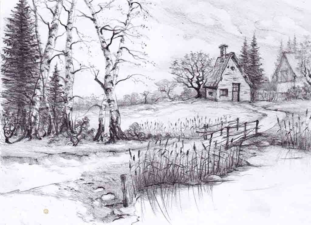 Beautiful pencil drawings of nature beautiful sketches of nature nature drawings 39