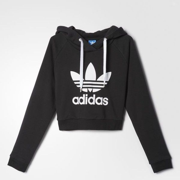 adidas Crop Hoodie ($60) ❤ liked on Polyvore featuring tops