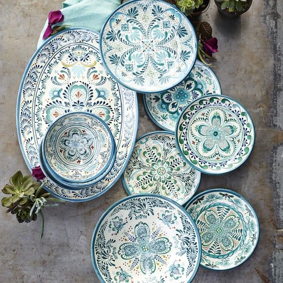 Veracruz Blue Outdoor Melamine Dinner Plates Melamine Dinnerware