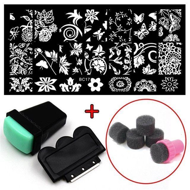 Nail Art Stamping 20 Designs 1pcs Stainless Steel Image Plates + Stamper Scraper +Sponge Stamer Nail Stamp Template Nail Tools