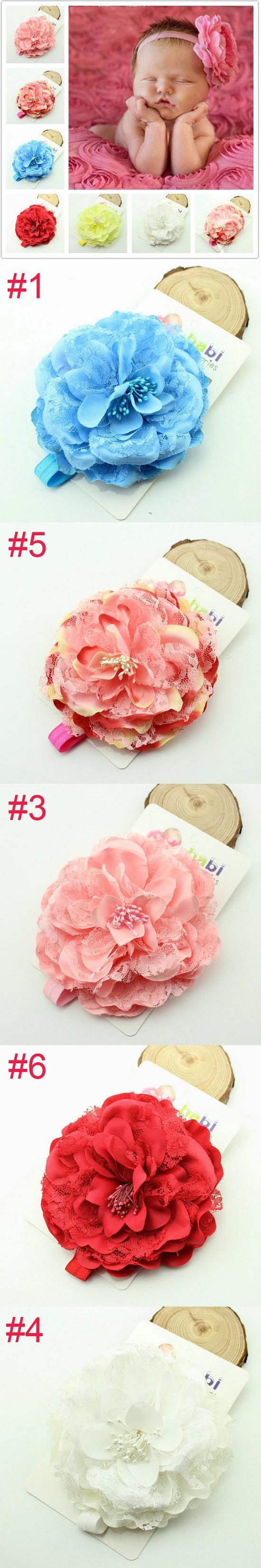 Pink Baby Headbands Big Flower Headband Lace hairband Infant Children hair accessories Photo Prop 12pcs/lot HB192