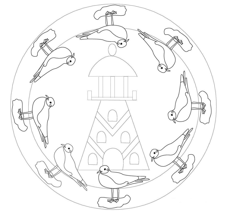Mandala Vuurtoren Coloring Pages Peace Symbol Mandala