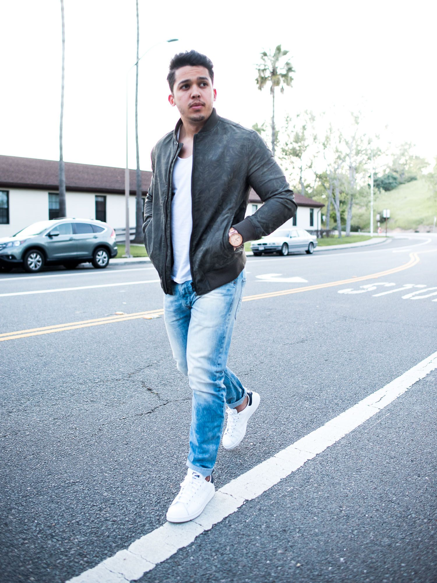 Mens jacket light blue - Men S Outfit Idea Green Bomber Jacket Light Blue Jeans And White Sneakers