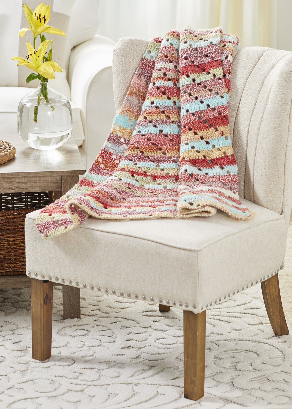 Sierra Keyhole Blanket Premier Yarns In 2020 Blanket Crochet For Home Needle Gauge