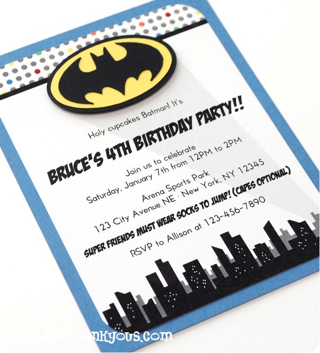 Batman Invitation-batman superhero boy invitation