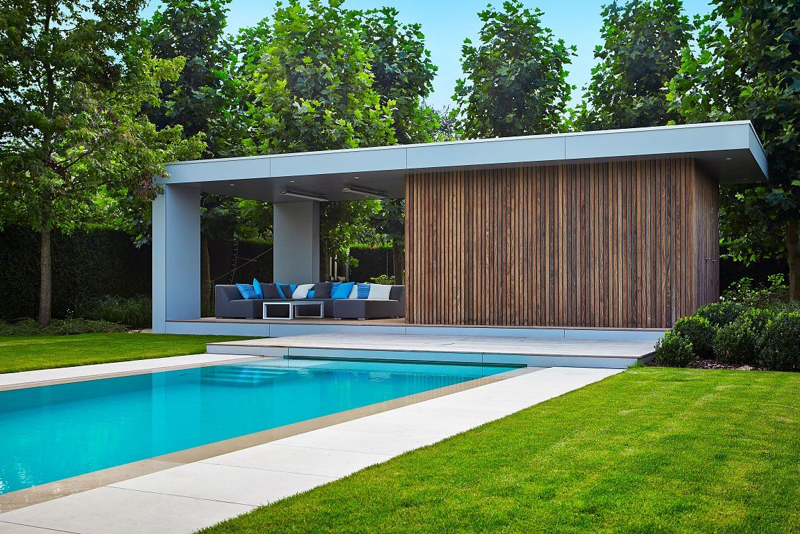 Modern Poolhouse in Trespa en hout Bogarden Buiten