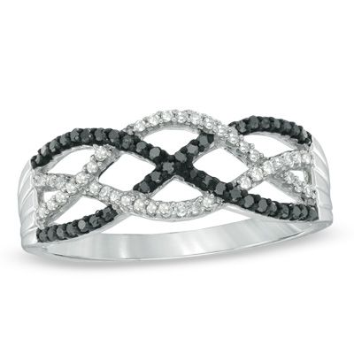 1 5 Ct T W Enhanced Black And White Diamond Loose Braid Ring In Sterling Silver Size 7 View All Rings Zales B Braided Ring Favorite Rings Zales Jewelry