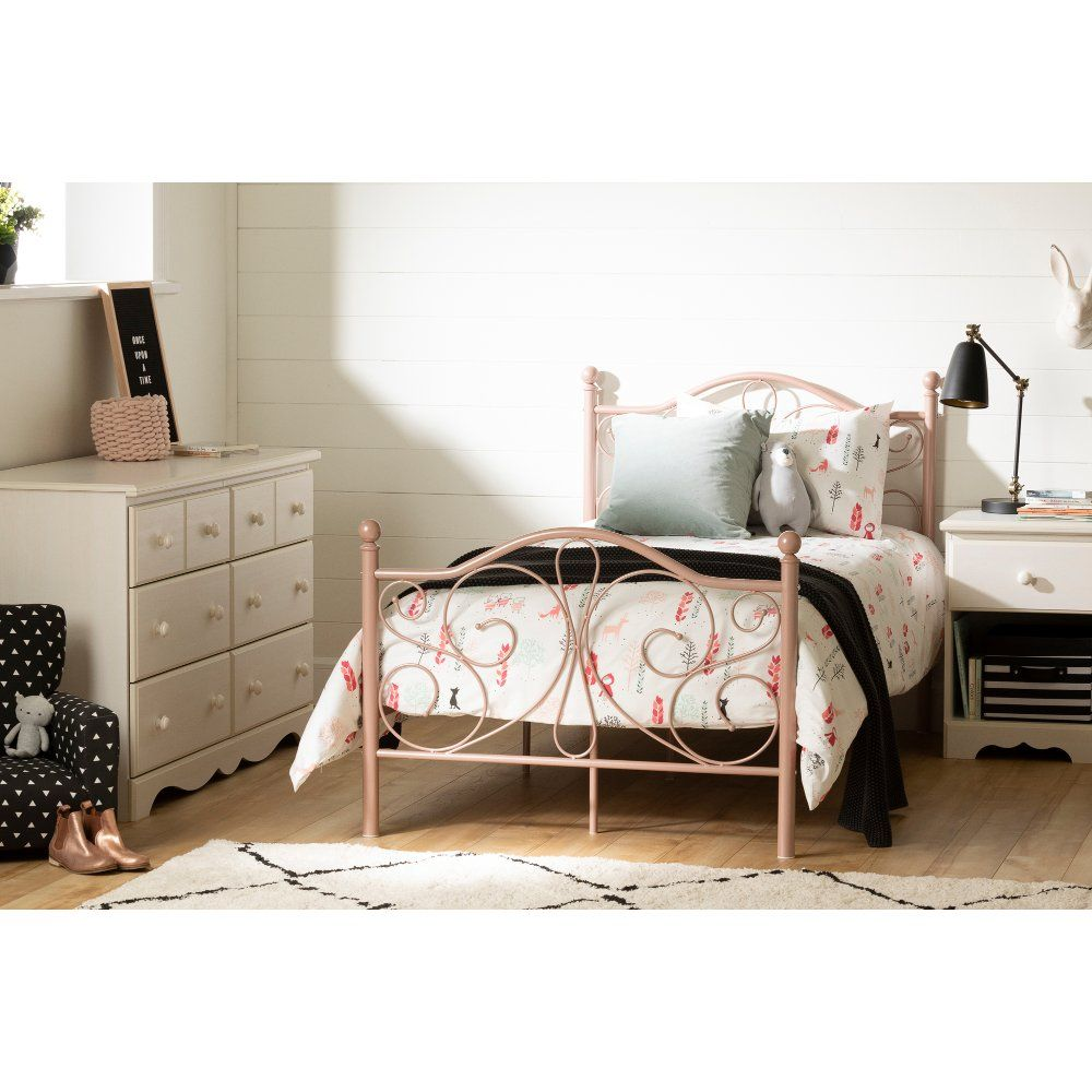 Traditional Pink Twin Metal Bed Summer Breeze Metal Beds Family Furniture Furniture Collection