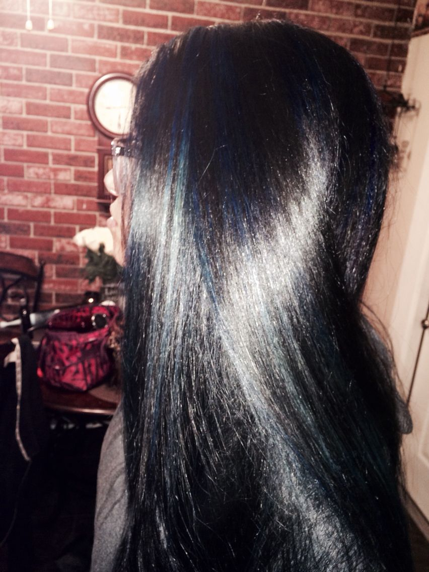 Jet Black Hair With Blue Tint And Blue Highlights With Images Hair