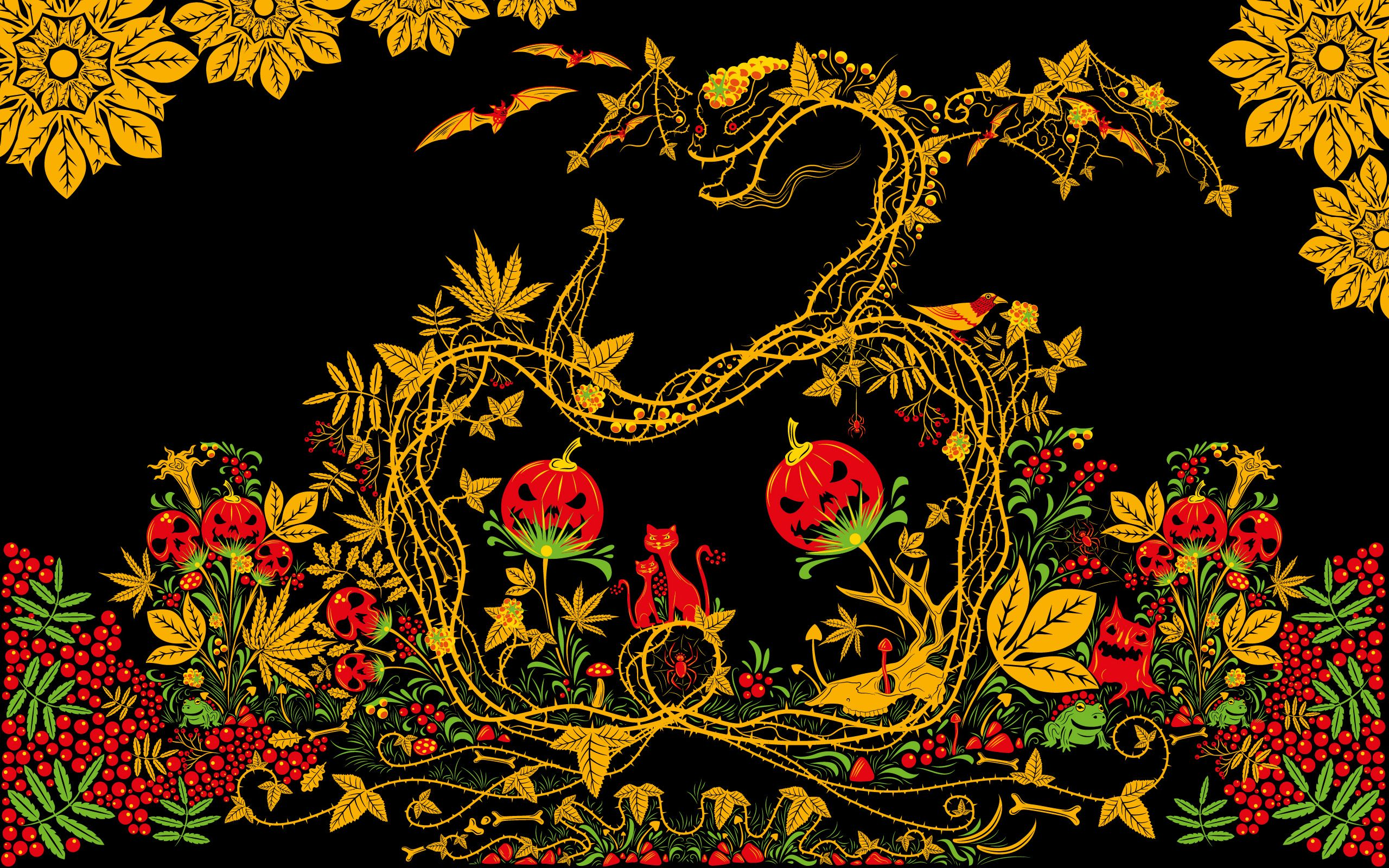 Halloween Khokhloma Free Psychedelic Wallpaper Andrei Verner