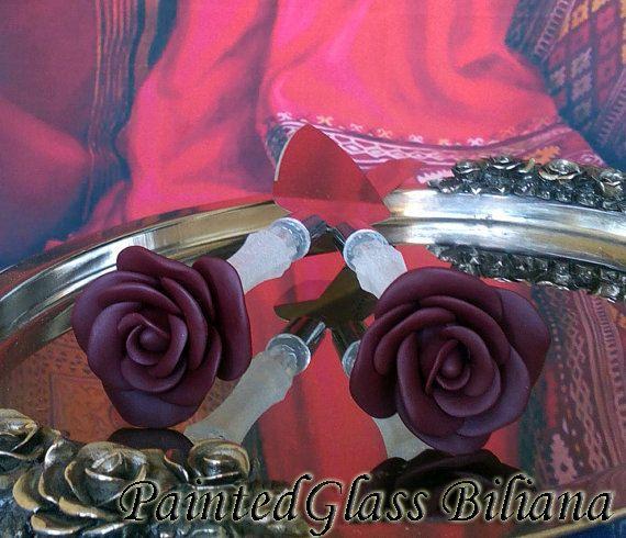 Wedding cake server et couteau, accessoires de Bourgogne rouge gâteau de  mariage, mariage de