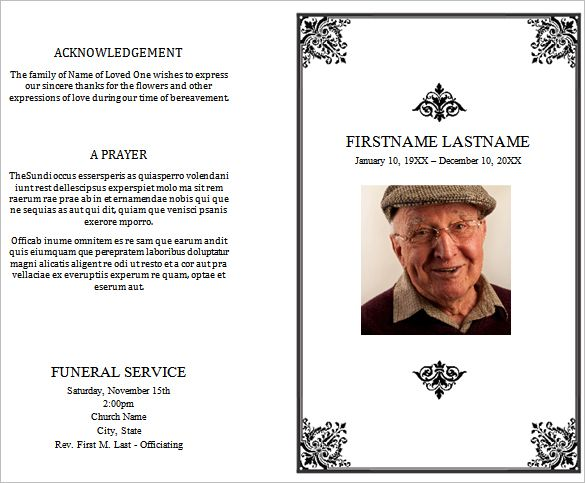 Free Funeral Program Template Microsoft Word – Free Printable Obituary Program Template