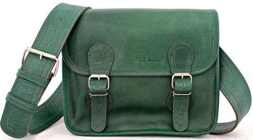 LaSacoche (S) Besace cuir bandoulière de couleur vert Emeraude ...