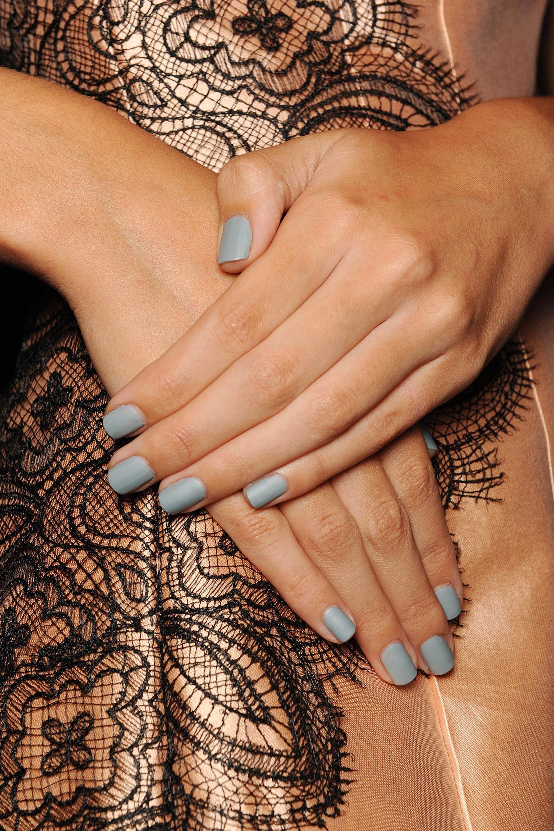 Duck egg blue nails at @Lela Johnson Johnson Johnson Johnson Johnson Johnson Johnson Johnson Rose SS 14 #NYFW