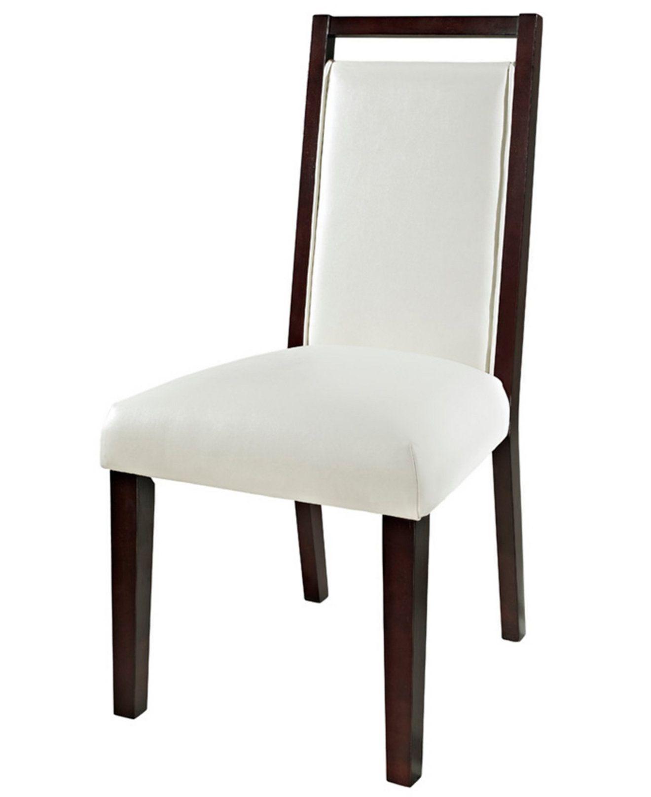 Astonishing Belaire White Leather Dining Chair Furniture Macys Evergreenethics Interior Chair Design Evergreenethicsorg