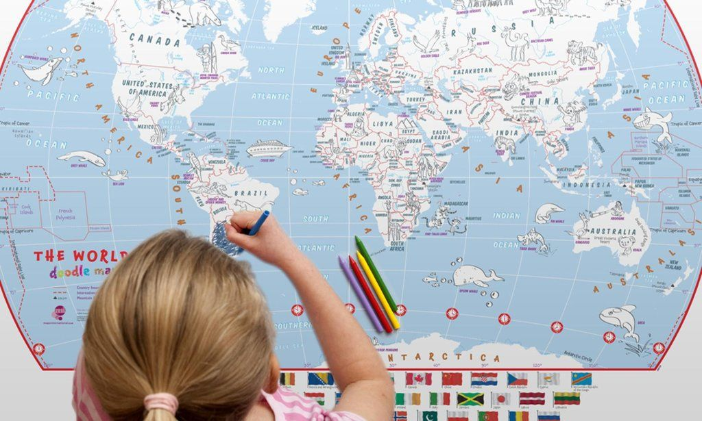 World Doodle Map With Crayons By Maps International Ltd Doodles - Buy map posters