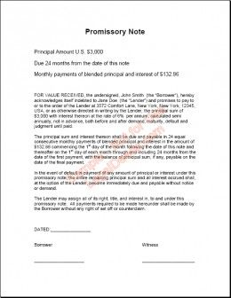 Promissory Note for Personal Loans