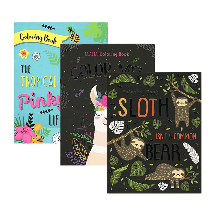 Sloth Llama Flamingo Foil Coloring Book Comes In 3 Assorted Titles Cover Paperback Page Count 32 Pages Language Coloring Book Set Book Set Coloring Books