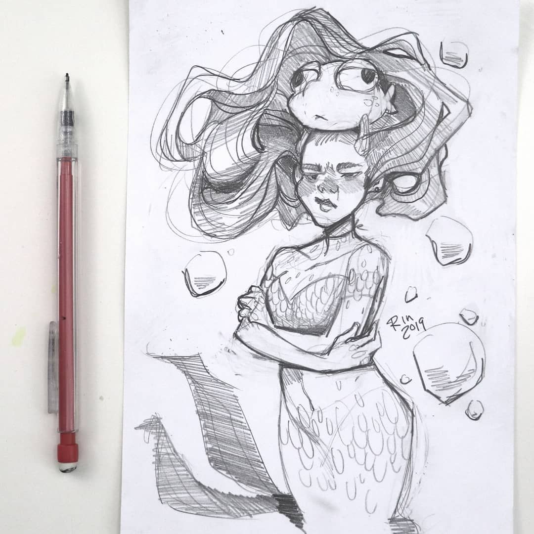 Drawing Wiff Waffles Mermay With Images Line Art Drawings