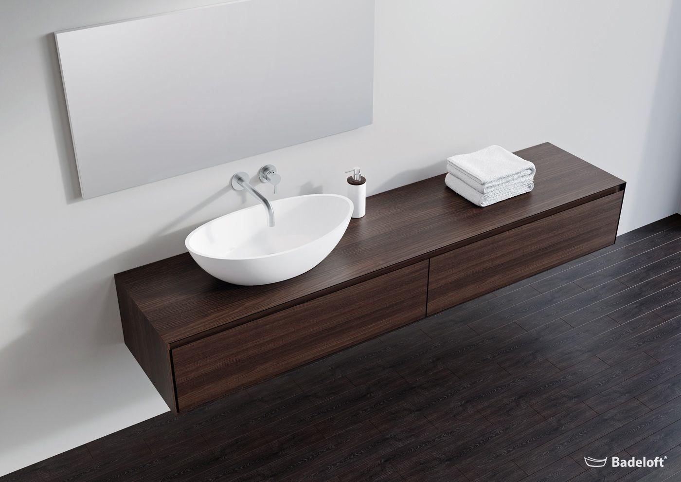Edle Badezimmer Mobel Aus Mineralguss Und Eiche Natur Und Dunkel Eiche Natur Badezimmer Mobel Badezimmer