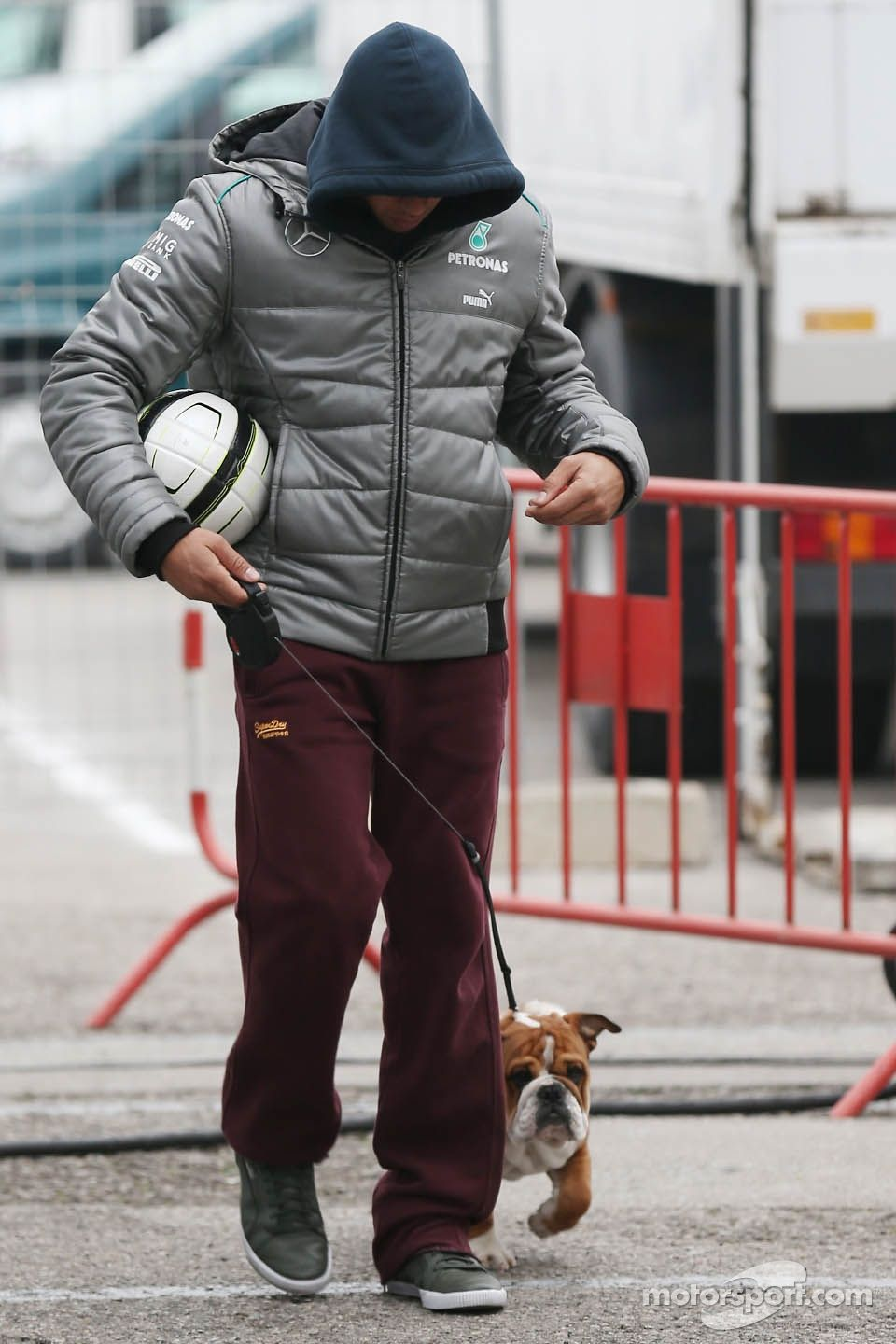 Who let the dogs out?! (It's Hamilton, with Roscoe) (Barcelona Testing 2013)
