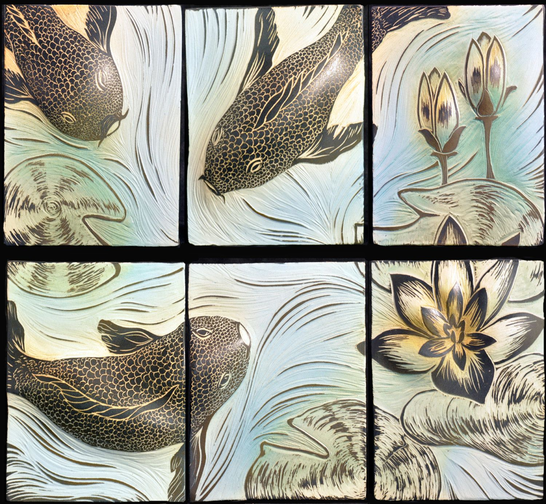 Handcarved ceramic tile backsplash koi fish design sgraffito handcarved ceramic tile backsplash koi fish design sgraffito carved each tile is 7 dailygadgetfo Images