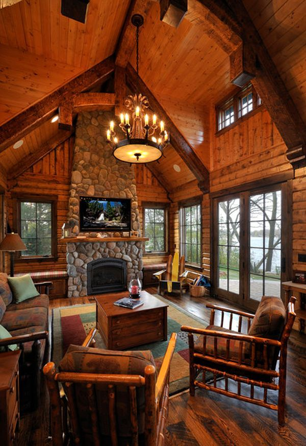10 High Ceiling Living Room Design Ideas Log Cabin Kitchens Log Homes Cabin Living