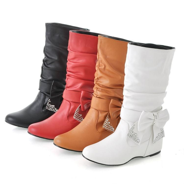 Women's Pleated Mid Calf Flats Faux Leather Boots