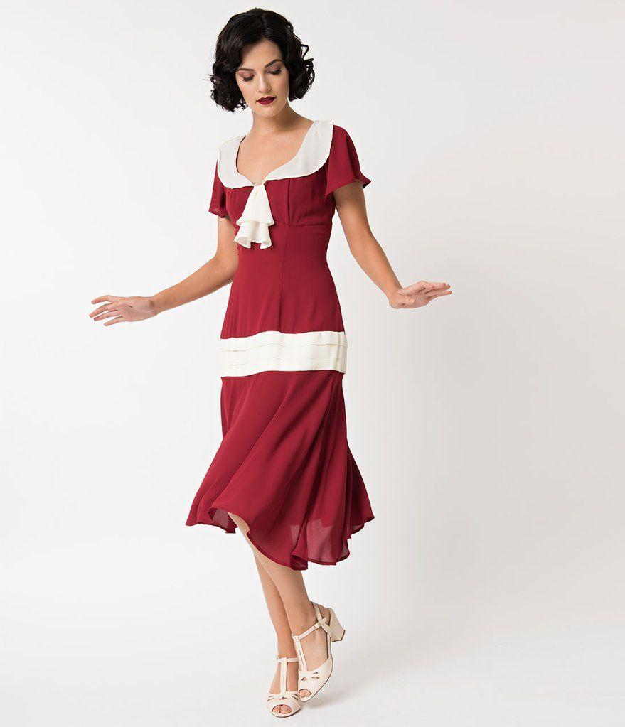 1920s burgundy cream wilshire flapper day dress 1920s