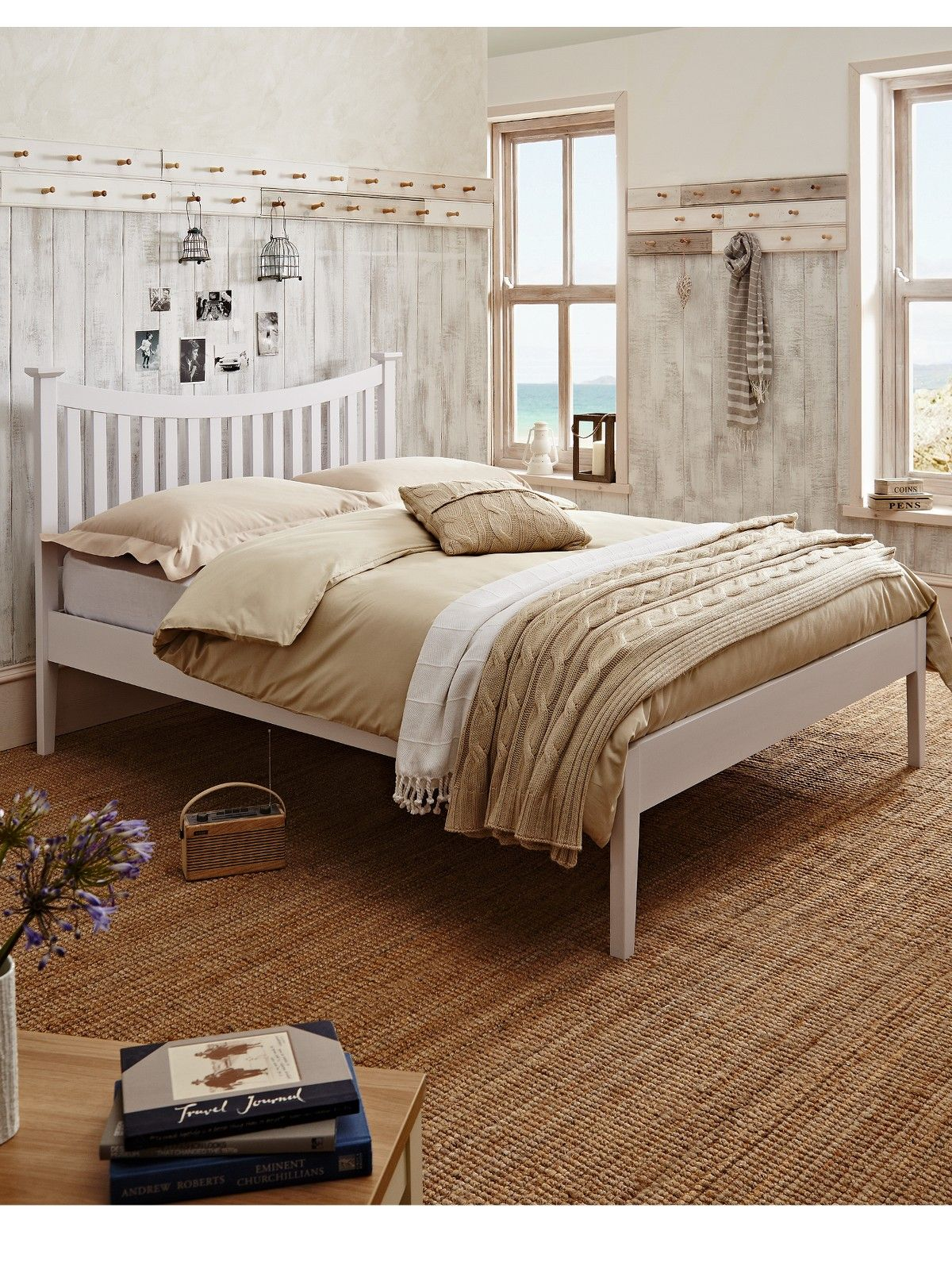 Aubrey Curved Solid Wood Bed Frame - Verycouk