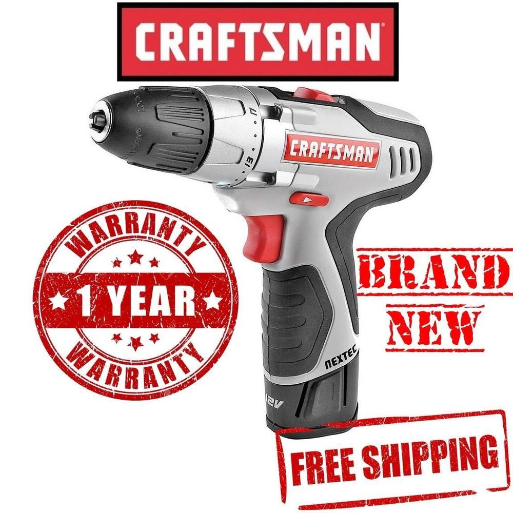 Craftsman Nextec Lithium Ion Cordless 12 0v Volt Drill Driver W Battery Charger Craftsman Craftsman Drill Driver Drill
