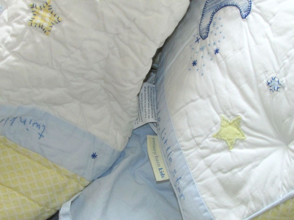 Babies Pottery Barn Kids Boys 6 Piece Complete Crib Bedding Set Twinkle Stars Moon Blue