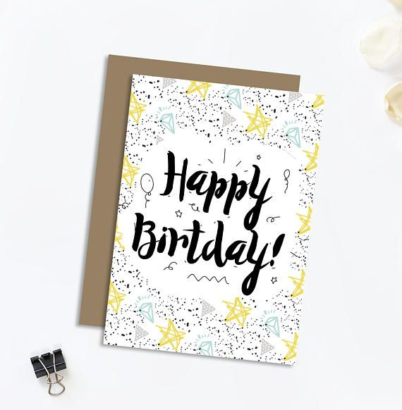 Happy Birthday Modern Calligraphy Hand Lettered Greeting Card