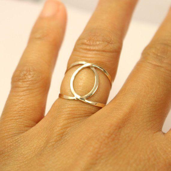 f4a6ea00128c6 14k Circle Ring, 14k Interlocked Circle Ring, 14k Infinity Ring, 14k ...