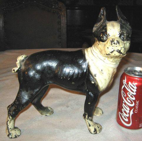Antique Boston Terrier Home Garden Art Statue Cast Iron Dog Doorstop