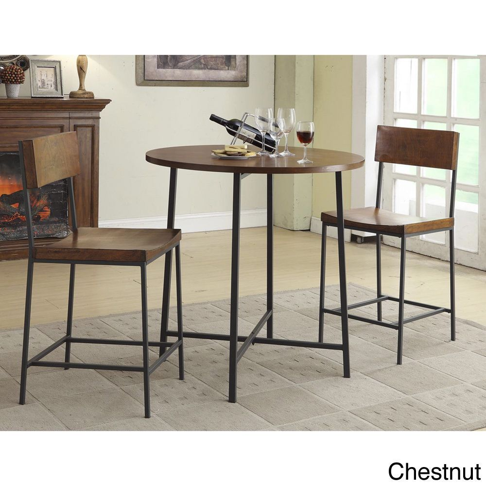 36 Inch Round Lakeland Bar Table And Counter Stool Set
