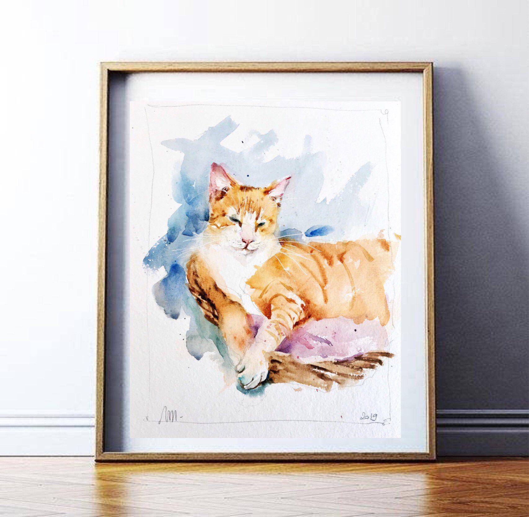 Aquarelle Peinture Originale Chat Roux Assoupi Dans Son Panier