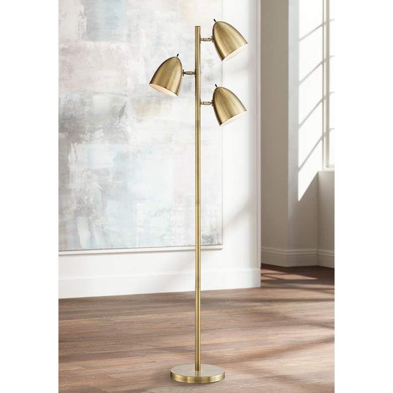 Aaron Aged Brass 3 Light Floor Lamp 1k778 Lamps Plus In 2020 Mid Century Modern Floor Lamps Floor Lamp Styles Contemporary Floor Lamps