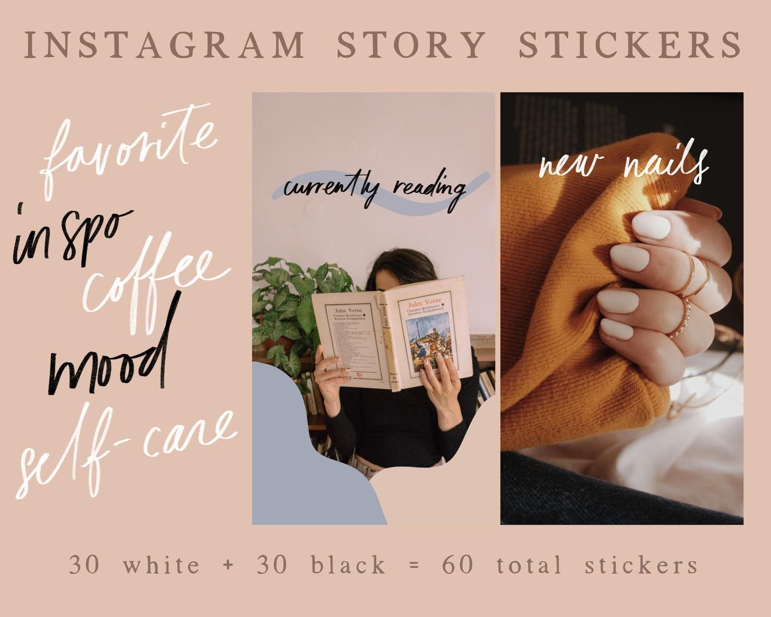 60 handwritten instagram story stickers ig story stickers