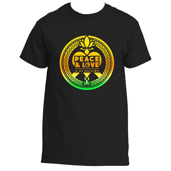 Peace & Love Is My Religion T-Shirt Yellow Peace Sign