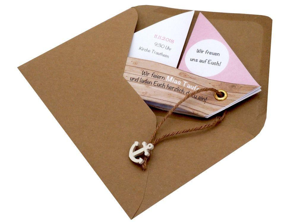 Photo of Einladungskarte Kommunion Konfirmation Taufe Boot Rosa Umschlag Braun Weiß