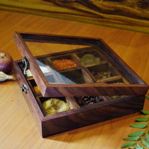 Spice Box Wooden Spice Box Sheesham Wood Spicebox By Spectrahut
