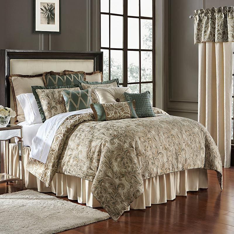 Anora Brass Jade 4 Piece Reversible Comforter Set By Waterford