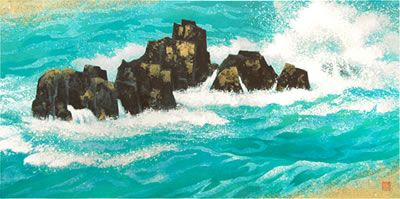 rising tide lithograph by kaii higashiyama japanese painting