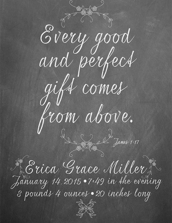 Custom Bible Verse Chalkboard Birth Announcement by primandprinted – Bible Verses for Baby Announcements