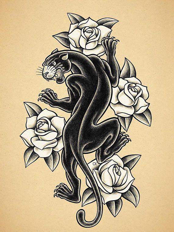 Black panther old school tattoo print tatuajes for Old school panther tattoo